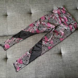 Floral Leggings with Mesh Detail